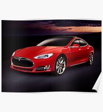 Tesla Model S rot Luxus Elektroauto Kunst Kunstdruck im Freien Poster