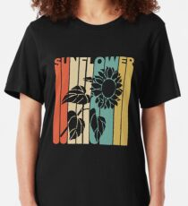 Vintage Style Sunflower Silhouette Shirt Slim Fit T-Shirt
