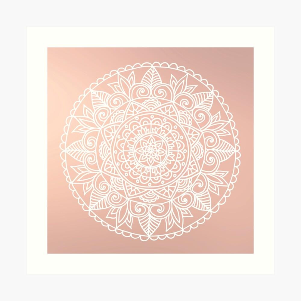 Mandala blanca sobre oro rosa Lámina artística