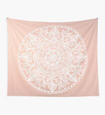 White Mandala on Rose Gold Wall Tapestry