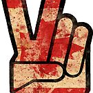 Vintage Fingers Peace Sign Canada Flag by hilda74