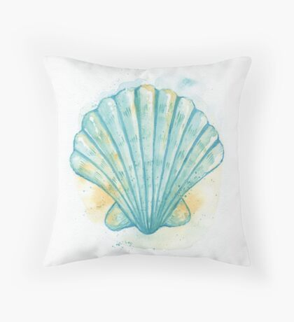 Aqua Scallop Throw Pillow