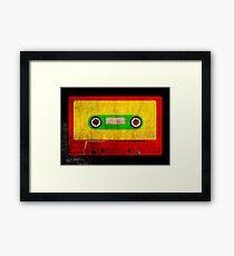 Reggae Flag Cassette Tape - Cool Grunge Reggae Music Design Framed Print