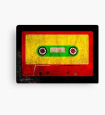 Reggae Flag Cassette Tape - Cool Grunge Reggae Music Design Canvas Print