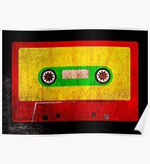 Reggae Flag Cassette Tape - Cool Grunge Reggae Music Design Poster