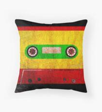 Reggae Flag Cassette Tape - Cool Grunge Reggae Music Design Throw Pillow