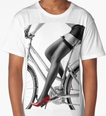 Sexy woman in red high heels and stockings riding bike art photo print Long T-Shirt