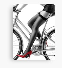 Sexy woman in red high heels and stockings riding bike art photo print Canvas Print