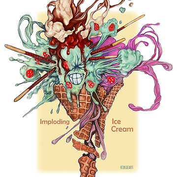 I is for Imploding Ice Cream - Alphabet of Haunted Food by kikoeart