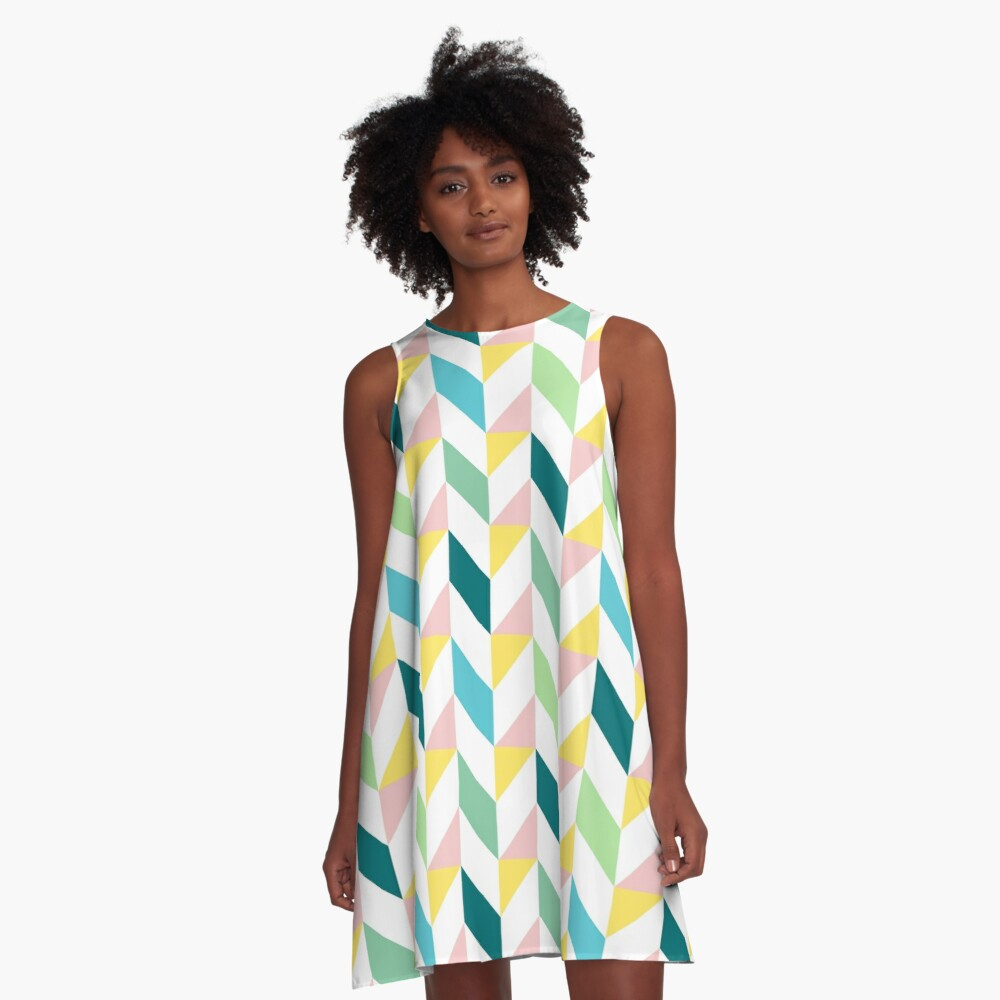 Colorful Geometric Pattern Teal Turquoise Mint Yellow Pink A-Line Dress Front