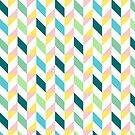 Colorful Geometric Pattern Teal Turquoise Mint Yellow Pink by Beverly Claire Kaiya