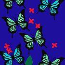 blue butterflies by Tracey Lennon