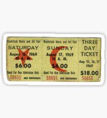 woodstock ticket Sticker