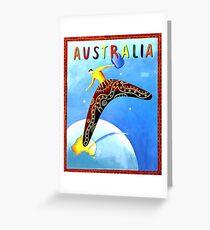 Australia, boomerang, vintage travel poster Greeting Card