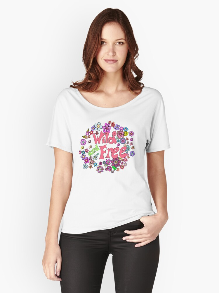 Wild and Free Flower Explosion  Women's Relaxed Fit T-Shirt Front