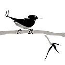 Sumi-e Bird by Shogam
