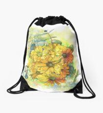 Chrysanthemum Bouquet Drawstring Bag