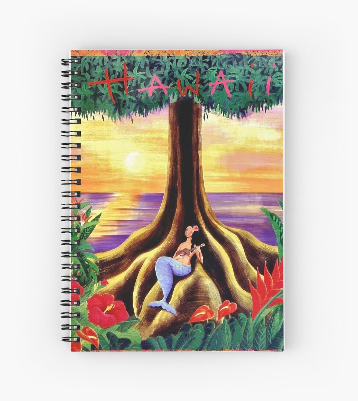 Hawaii, romantic sunset, exotic tree, mermaid play ukulele, travel ...