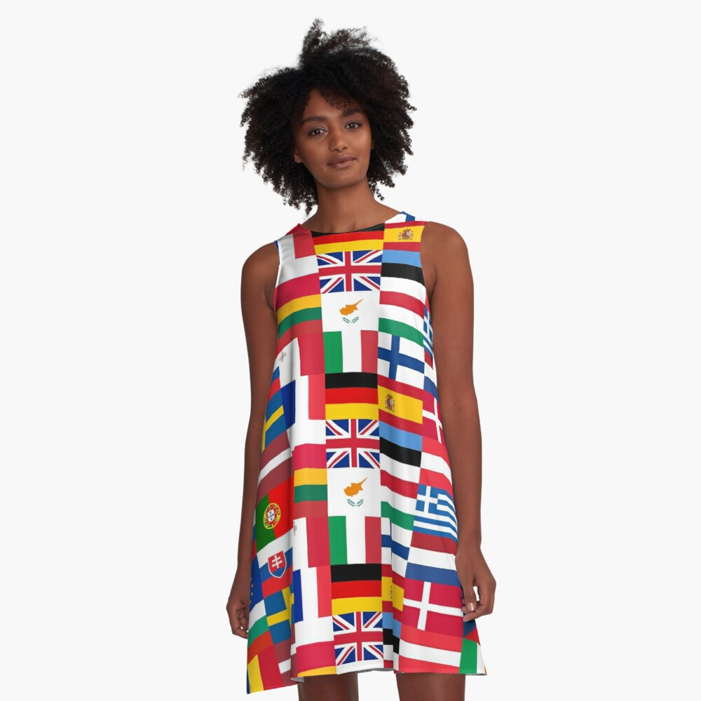 Europe Flags | European Union | Globetrotter A-Line Dress Front
