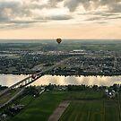 Hot Air Balloons Flying Over Saint-Jean-sur-Richelieu in Quebec Canada by Georgia Mizuleva