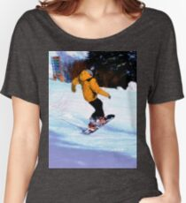 Carving Snow - Winter Snow-Boarding Scene Women's Relaxed Fit T-Shirt