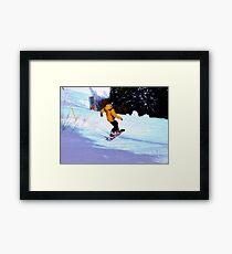 Carving Snow - Winter Snow-Boarding Scene Framed Print