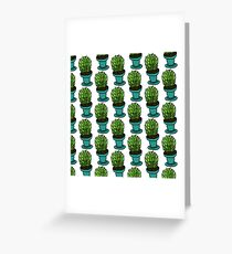 Cartoon home cactus in a blue pot Greeting Card