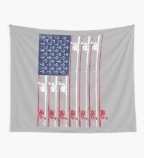 Vintage Flag > US Flag Made of Fishing Rods + Hooks > Fisherman Wandbehang