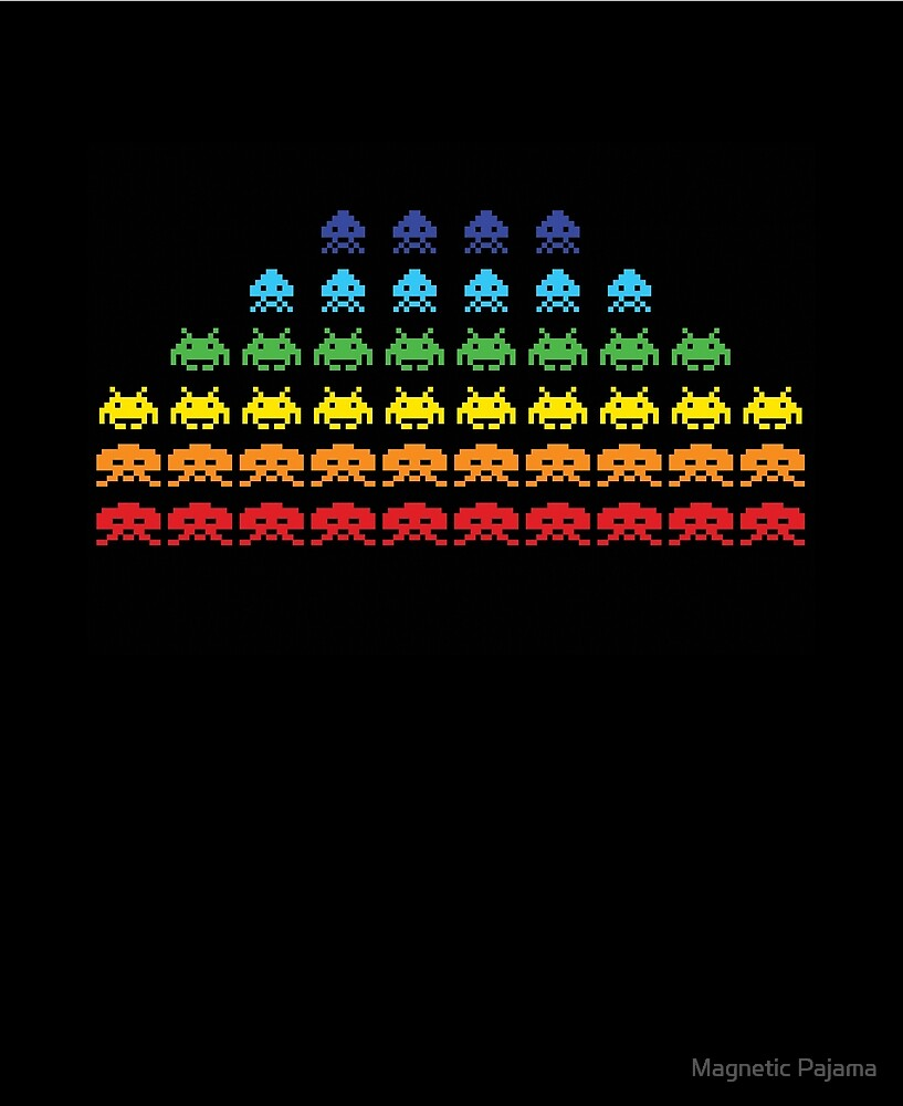 """SPACE INVADERS"" Video Game Lovers Vintage by MagneticMama"