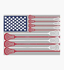Vintage Flag > US Flag Made of Lacrosse Balls + Bats > Laxing Photographic Print