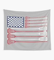 Vintage Flag > US Flag Made of Lacrosse Balls + Bats > Laxing Wall Tapestry