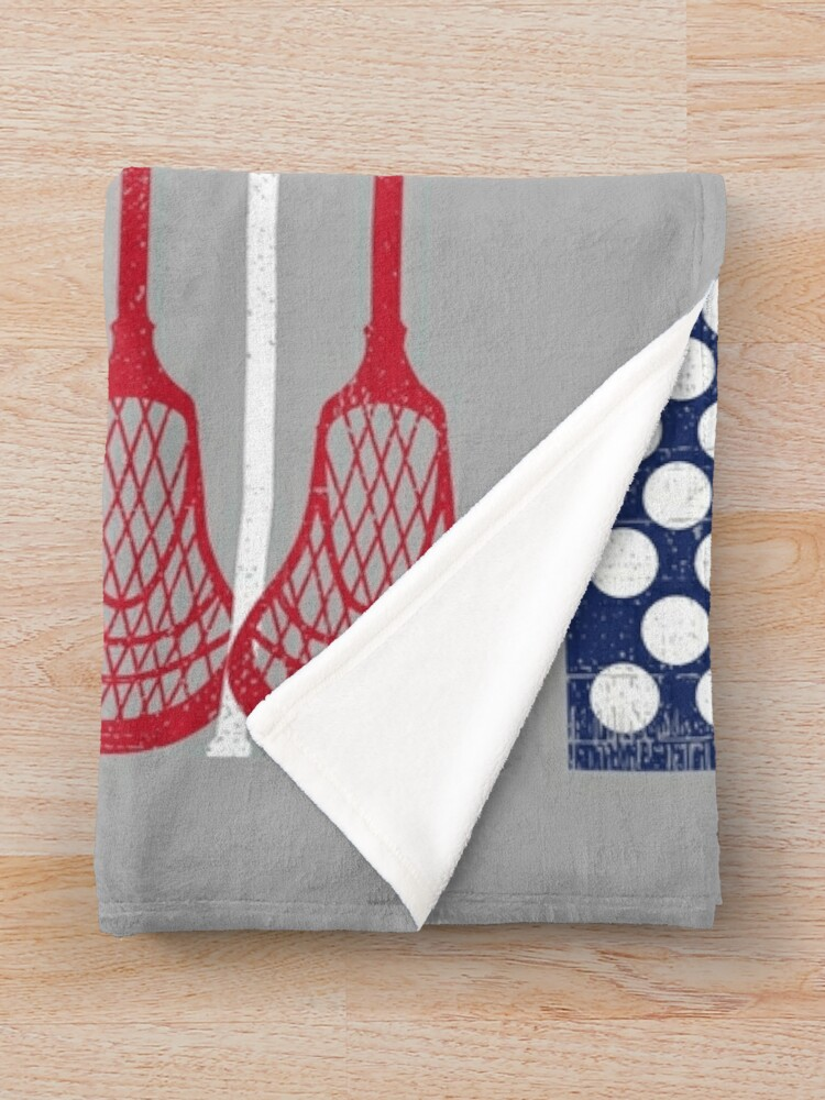 Alternate view of Vintage Flag > US Flag Made of Lacrosse Balls + Bats > Laxing Throw Blanket