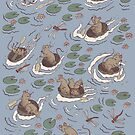 Coracle race - mice in lilies by tanaudel