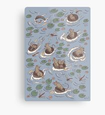 Coracle race - mice in lilies Metal Print