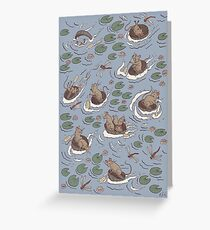 Coracle race - mice in lilies Greeting Card