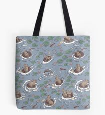 Coracle race - mice in lilies Tote Bag