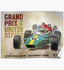 GRAND PRIX VEREINIGTE STAATEN: Weinlese Watkins Glen Print Poster