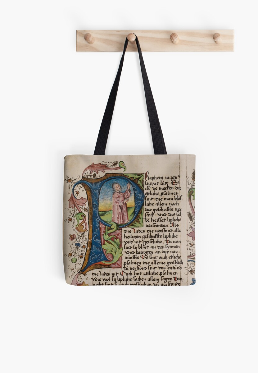 initial p in a medieval illuminated manuscript tote bags by rromir