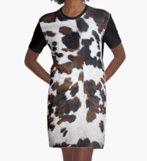 Cowhide Tan, black and white | Texture Graphic T-Shirt Dress