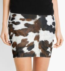 Cowhide Tan, black and white | Texture Mini Skirt