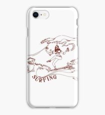 Surfing the Wave - Ram Dass, Be Here Now, Yogi, Philosophy, Ocean (red) iPhone Case/Skin
