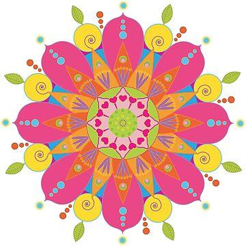«Mandala fleur aux couleurs vives» par RosaLeeDesign