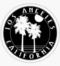 LOS ANGELES CALIFORNIA BLACK WHITE PALM TREES Sticker