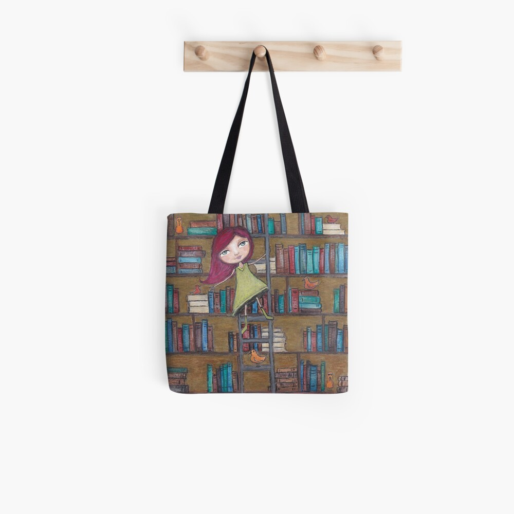 Library Girl Books and Birds Tote Bag
