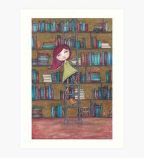 Library Girl Books and Birds Art Print