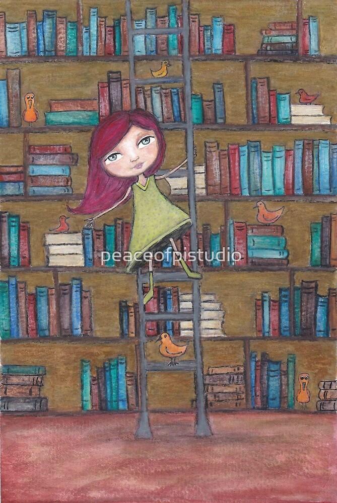 Library Girl Books and Birds by peaceofpistudio