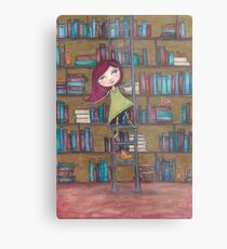 Library Girl Books and Birds Metal Print