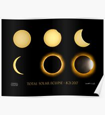 Total Eclipse Sequence with Date, Location, Artist Signature Poster