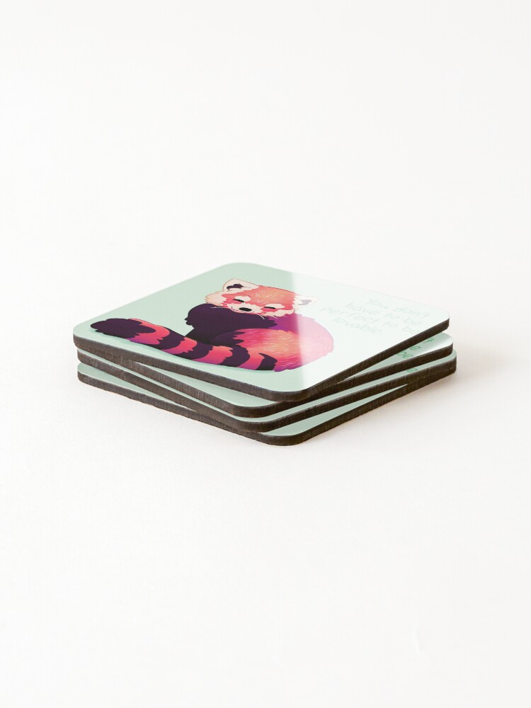 "Alternate view of ""You Don't Have to Be Perfect To Be Lovable"" Red Panda Coasters (Set of 4)"