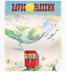 Davos, Switzerland, railway system, vintage travel poster Poster